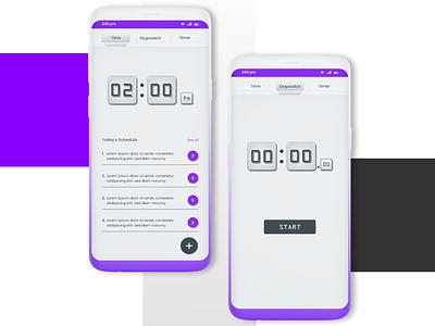 Time App mobile app ui design adobexd uidesign minimilistic mobile app design timer app dailyuichallenge daily ui 014 daily ui challenge daily ui 14