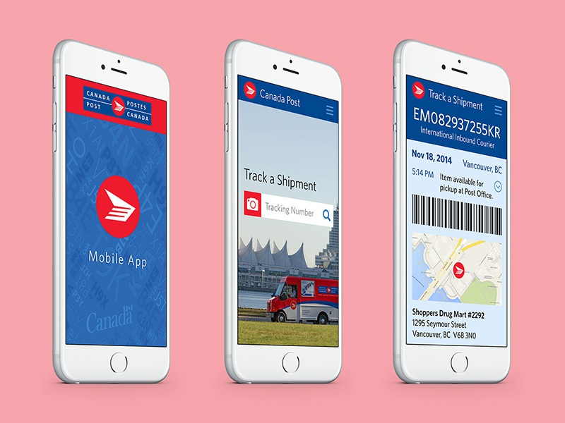 Mobile App for Canada Post corporation canada canada post postal carrier ux ui app mobile redesign concept