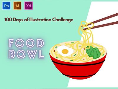 Food Bowl -Food Illustration - Day 2 of 100 day of illustration typography vector branding logo graphic design ux illustration flat design