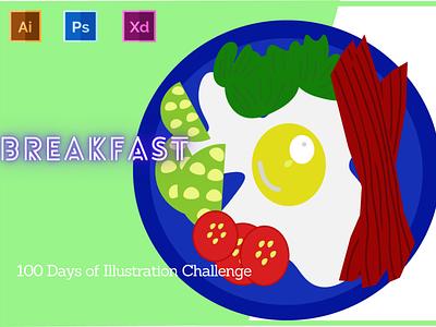 Day-10-Food Illustration-Breakfast typography vector branding animation ui logo graphic design ux illustration flat design