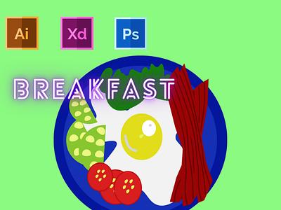 Day-10-Food Illustration-Breakfast typography vector ux branding ui logo graphic design illustration flat design