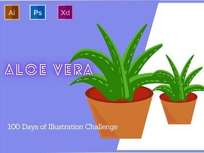 Day-11-Plant Illustration-Aloe Vera typography vector branding ui logo flat graphic design ux illustration design