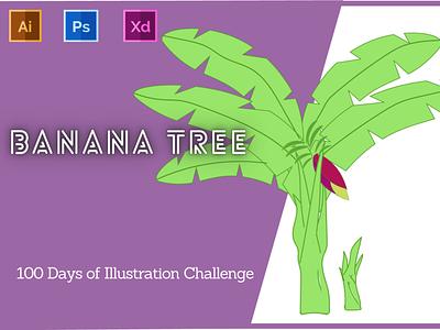 Day-12-Plant Illustration-Banana Tree vector branding ui logo graphic design ux illustration flat design typography