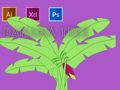 Day-12-Plant Illustration-Banana Tree typography vector branding ui logo graphic design flat ux illustration design