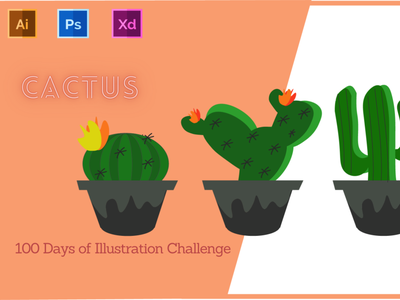 Day-13-Plant Illustration-Cactus vector typography branding ui logo ux graphic design illustration flat design