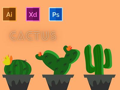 Day-13-Plant Illustration-Cactus typography vector branding ui logo graphic design ux illustration flat design