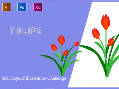 Day-14-Plant Illustration-Tulips typography vector ui branding logo graphic design ux illustration flat design