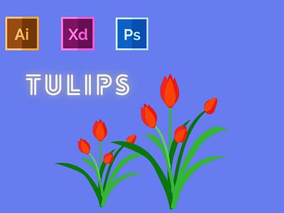 Day-14-Plant Illustration-Tulips typography vector branding ui logo graphic design flat ux illustration design
