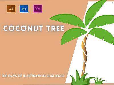 Day-18-Plant Illustration-Coconut Tree typography vector ui branding logo graphic design ux illustration flat design