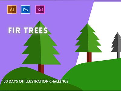 Day-19-Plant Illustration-Fir Trees vector branding ui logo graphic design ux illustration flat design typography