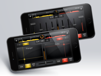 Cross DJ for iPhone dj sorin oprisor graphics interface ui ux design iphone effects ios red yellow