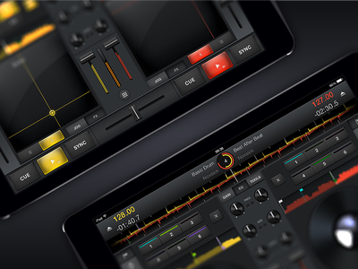 Cross DJ for iPad dj effects yellow red ios iphone design ux ui interface graphics sorin oprisor