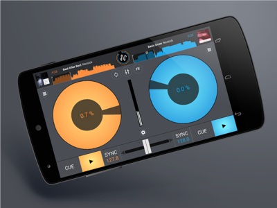 Cross DJ for Android sorin oprisor graphics interface ui ux design iphone ios blue yellow effects dj