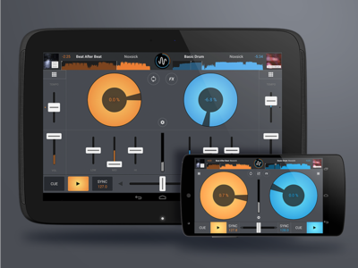 Cross DJ Android (small and large screen) dj effects yellow blue ios iphone design ux ui interface graphics sorin oprisor
