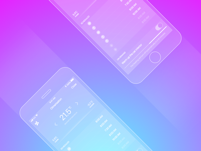 Vehicle Temperature Remote gradient radial temperature phone wireframe transparent design