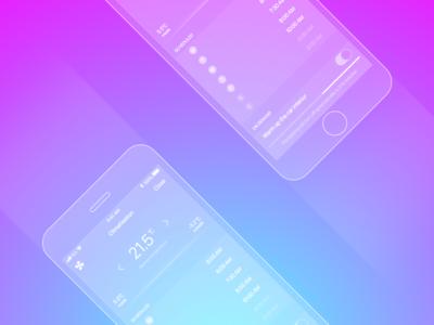Vehicle Temperature Remote gradient radial temperature phone wireframe transparent design