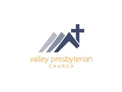 Valley Presbyterian Church triangles triangle cross graphic flat church branding clean design logo