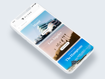 BLADE - Uber for Helicopters Homescreen Redesign iphone x jets helicopters aircraft flight travel destination cards booking