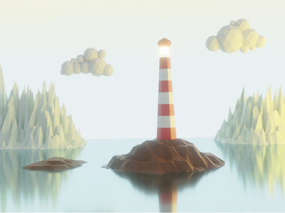 The lighthouse Island blender3dart blender3d blender island 3d lighthouse