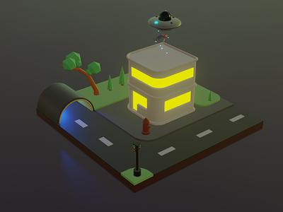 ufo in building building ovni ufo 3d blender3d 3dblender 3d art