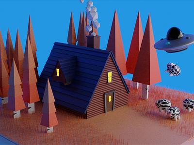 Cabin Blender 3D cabin ovni ufo blender3dart blender3d 3d 3dblender 3d art