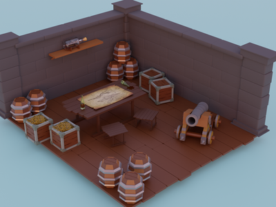 Pirate Room pirate cabin building illumination blender3dart blender3d 3dblender blende 3d
