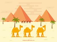 Caravan of Camels with Desert Landscape