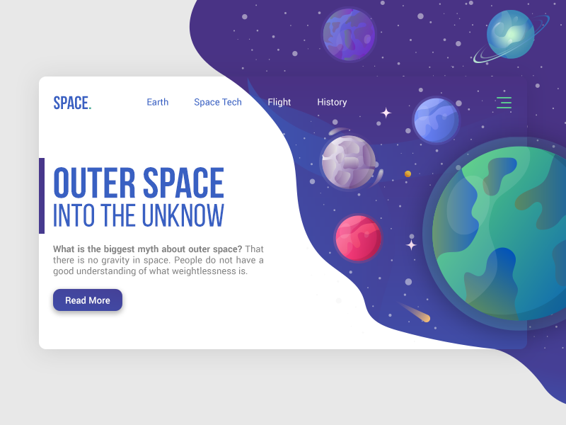 Outer Space Landing Page website banner landing page landing animation character 2d website ux gif vector illustration web ui flat