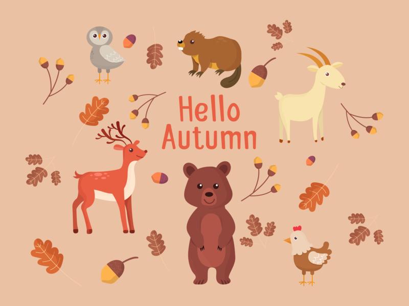 Autumn Animals color branding landing app character clean design 2d website gif icon ux vector illustration ui web flat animals animal autumn