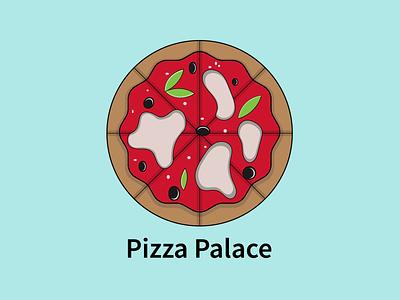 Pizza Palace vector art design illustration food illustration new design 2021 pizza logo logo pizza