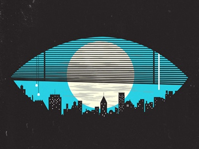 Eye On The City negative space illustration vector eye city night blind moon modern tang yau hoong. design print simplistic minimalism