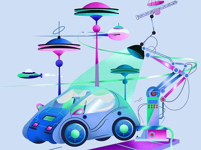The future car graphic design minimalistic art design illustration art