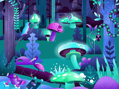 Enchanted Forest vector enchanted magic nature forest palette minimalistic art design illustration art graphic design