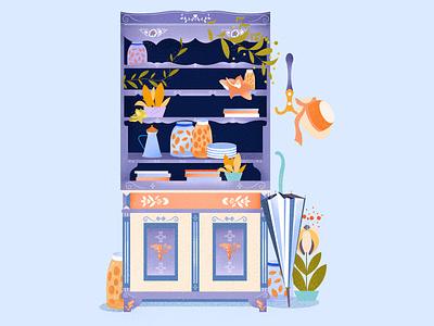 Grandma's pantry artist vector peaches jar wardrobe pantry grandma graphic design simpleillustration palette minimalistic art design illustration art