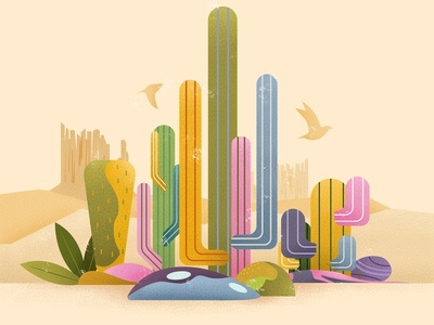 Western Cactus desert nature birds western cactus graphic design simpleillustration palette minimalistic art design illustration art