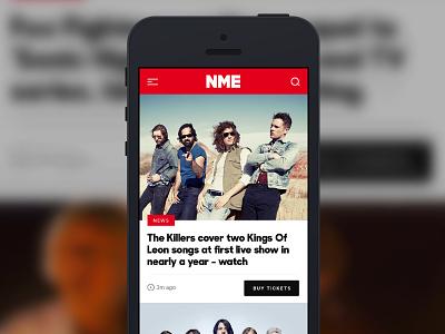 NME news homepage on mobile music nme news