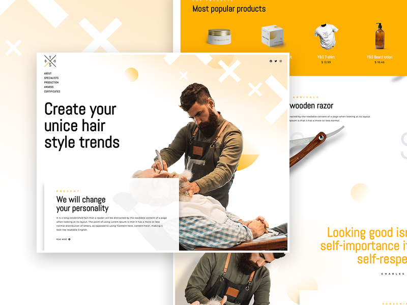 Y&S Full Page new tutorial video speed art elementor templates home page barbershop barber page builder elementor