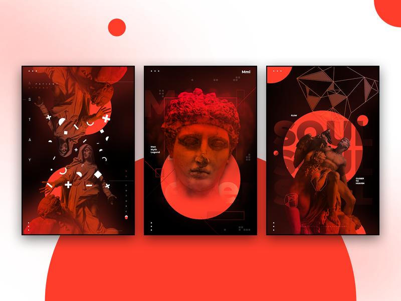 Statue Posters concept new set red shapes statue poster