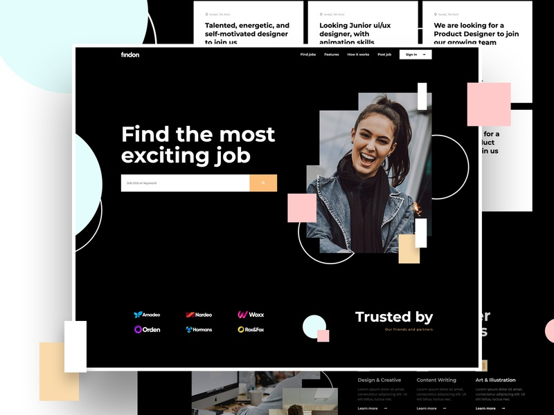 Find your job photoshop ps site dark ux ui freelance home page page wordpress page builder elementor