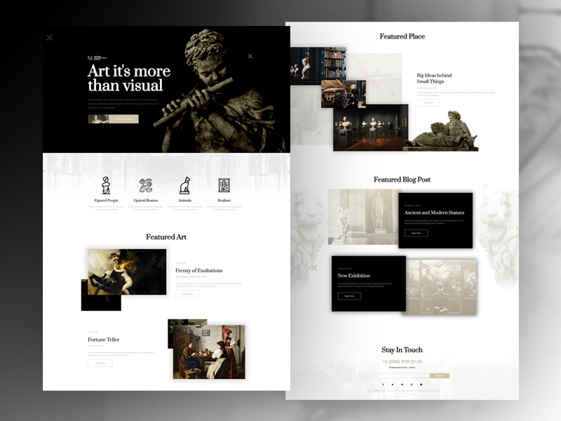 Museum layout template builder wordpress web page land elementor