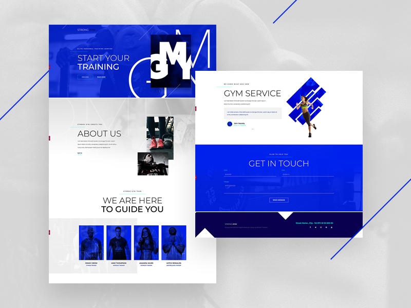 GYM wordpress web template page layout land elementor builder