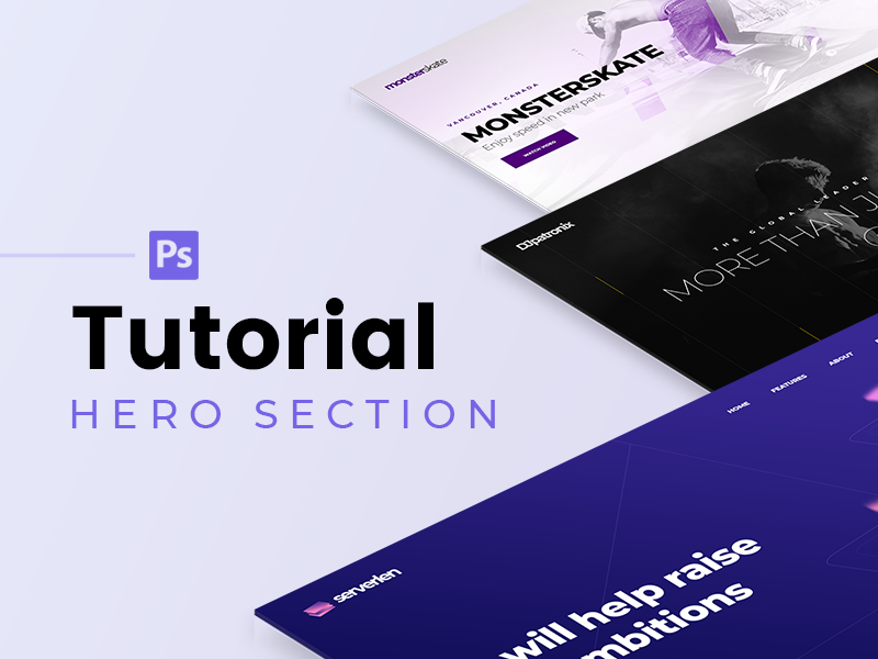Tutorial #2 new video youtube hero section page photoshop ps web hero tutorial