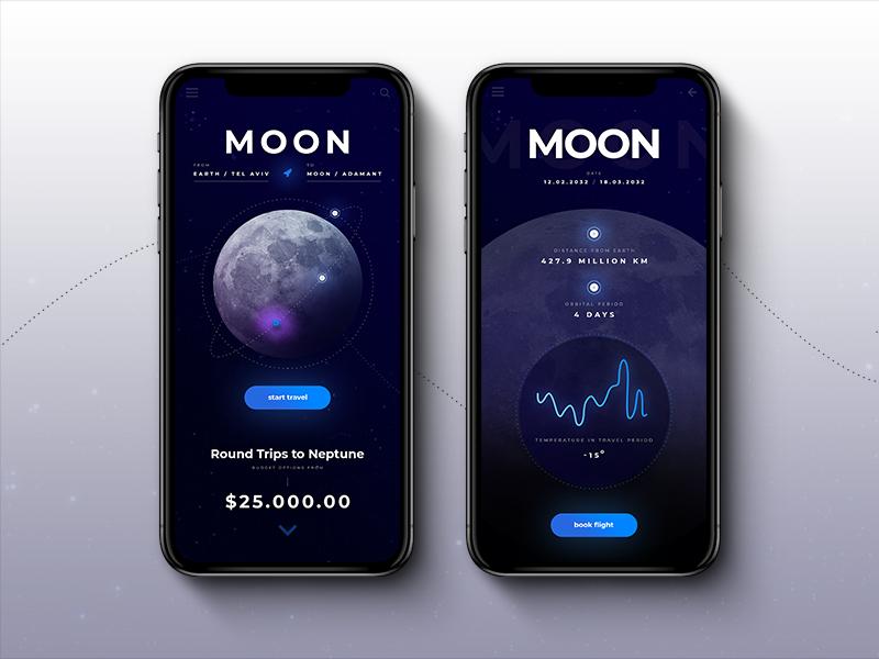 Space Tour App user interface mars moon inspiration mobile ui  ux travel app tour space
