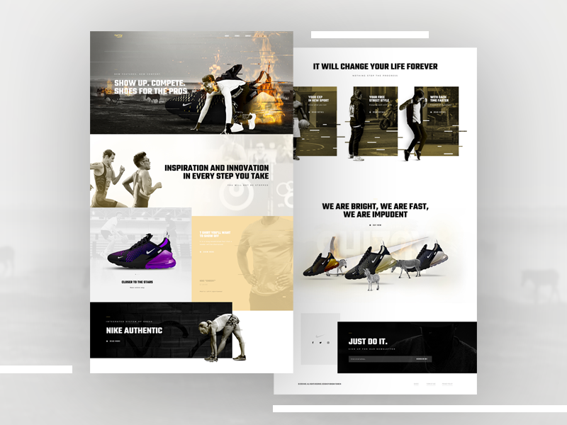 Nike Store - Elementor Pro Layout ux creative nike shoes home page wordpress site ui page builder elementor