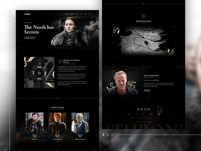 Game of Thrones ui ux jon snow template ps homepage elementor