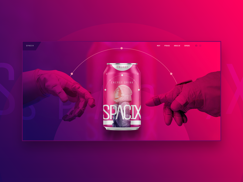 Spacix hero concept energy drink drink space ui