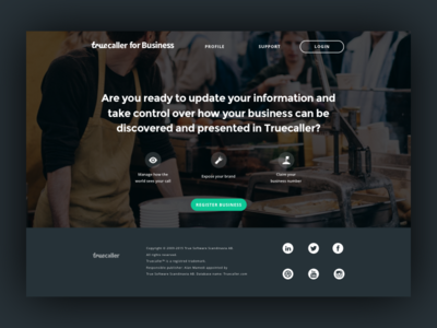 Truecaller for Business Landing Page