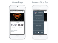 Warby Parker App - Home Page and Account Side Bar