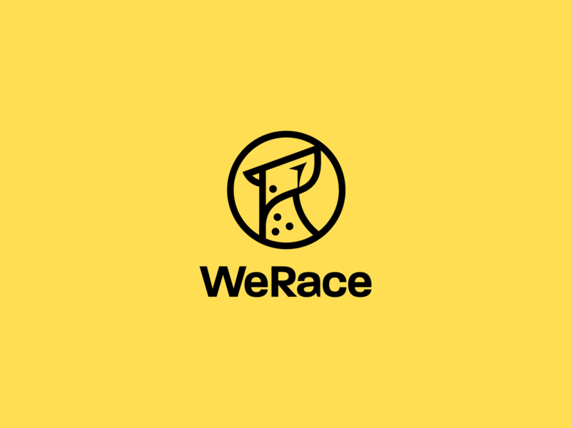 WeRace Logo & App icon sport app minimalistic abstract sleek symbol app icon icon location yellow speed power graphic design visual identity charity donation sport cheetah animals logo