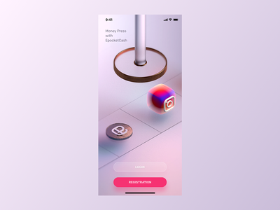 Start Screen for EpocketCash adobexd ui app design design instagram marketing 3d cinema4d c4d app